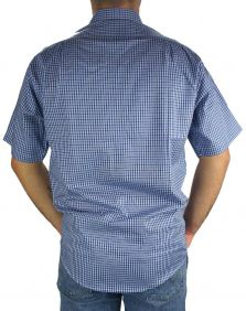 Camisa Xadrez Fast Back Manga Curta Masculina Azul
