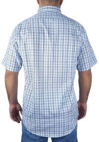Camisa Xadrez Fast Back Manga Curta Masculina Branco Azul