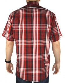 Camisa Xadrez Grande Fast Back Manga Curta Masculina Vermelho Preto Branco