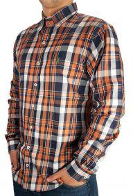Camisa Xadrez Masculina Austin Western Manga Longa Slim Fit Laranja Azul Marinho