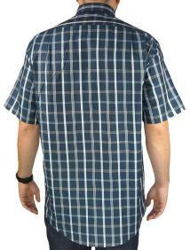 Camisa Xadrez Masculina Fast Back Manga Curta Azul e Branco