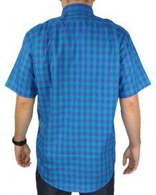 Camisa Xadrez Masculina Fast Back Manga Curta Azul Royal Roxo