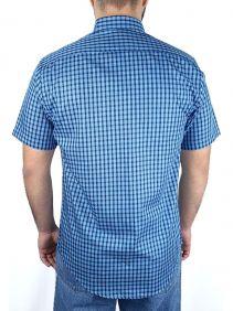 Camisa Xadrez Masculina Slim Fit Austin Western Manga Curta Azul