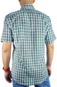 Camisa Xadrez Masculina Slim Fit Austin Western Manga Curta Verde