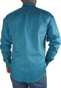 Camisa Xadrez Slim Fit Austin Western Manga Longa Azul Verde