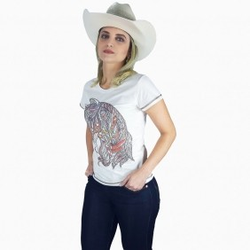 Camiseta Feminina Miss Country Desenho Cavalo com Strass