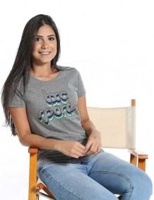 Camiseta Feminina TXC Brand Cinza Estampada Logo TXC Verde
