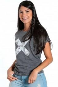 Camiseta Feminina TXC Brand Manga Curta Cinza Estampa Flores