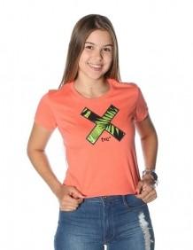 Camiseta Feminina TXC Brand Manga Curta Cor Salmão Estampada