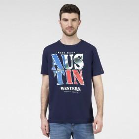 Camiseta Masculina Austin Western Azul Marinho Estampada