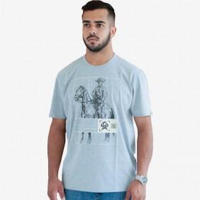 Camiseta Masculina Ox Horns Estampada Cinza Escuro Brand