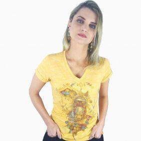 Camiseta Miss Country Gloss Amarelo Com Estampa e Pedras