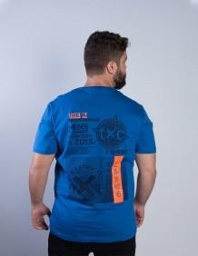Camiseta TXC Brand Masculina Azul Laranja Logo Emborrachada