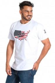 Camiseta TXC Brand Masculina Branca com Bandeira USA