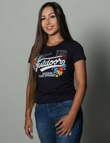Camiseta TXC Feminina Manga Curta Azul Estampada Flores