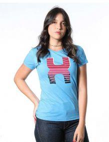 Camiseta TXC Feminina Manga Curta Azul Logo TXC Vermelho