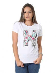 Camiseta TXC Feminina Manga Curta Branca Estampada Colorida