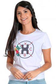 Camiseta TXC Feminina Manga Curta Branco Bordado Flores