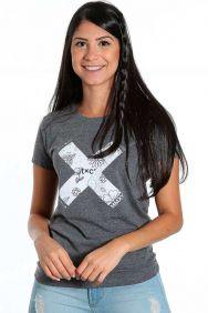 Camiseta TXC Feminina Manga Curta Cinza Estampa Flores