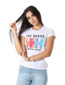 Camiseta TXC Feminina Manga Curta Cor Branca Estampada Logo