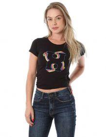Camiseta TXC Feminina Manga Curta Cor Preta Estampa Colorida