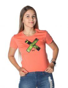 Camiseta TXC Feminina Manga Curta Cor Salmão Estampada