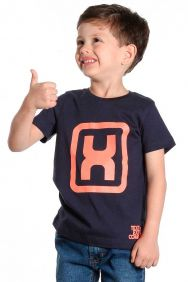 Camiseta TXC Infantil Manga Curta Azul Marinho  Laranja