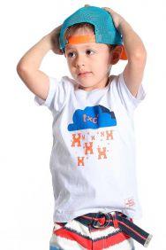 Camiseta TXC Infantil Manga Curta Estampa Azul e Laranja