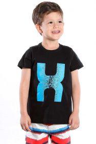 Camiseta TXC Infantil Manga Curta Preto Estampa Azul