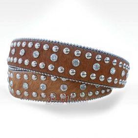 Cinto Paul Western Feminino Pêlo Pedras e Rebites Exclusivo