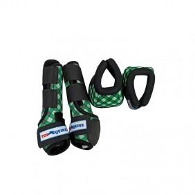 Conjunto de Caneleira Cloche Top Equine Verde Branco Preto