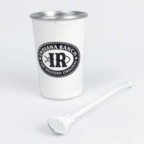 Copo para Tereré de Alumínio com Bomba sem Tampa IR Branco