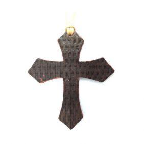 Enfeite de Sela Couro Trabalhado Cruz Mosaico Escurecido