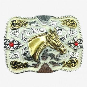 Fivela Country Feminina Master Western Prata e Bege Cavalo