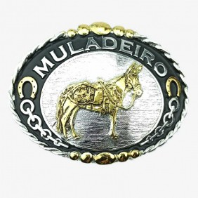 Fivela Muladeiro Masculina Master Western Prata Preto Dourado