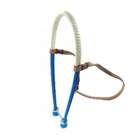 Gamarra para Cavalo Top Equine Corda Dupla Azul Couro Branco