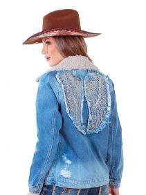 Jaqueta Jeans Feminina Zenz Western Bordado e Pedras