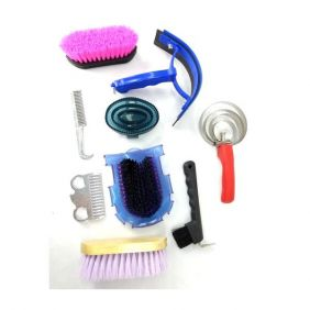 Kit de Higiene e Limpeza para Cavalos Multicolor Azul