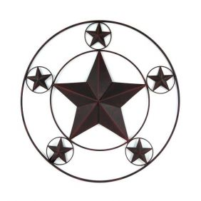 Placa Decoração Western Metal Envelhecido Estrelas Importada