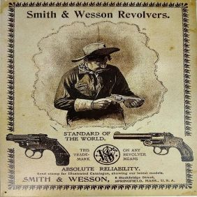 Placa Western Decorativa Metal  Velho Duelo Smith & Wesson
