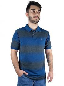 Polo Masculina Austin Western Original Shirts Azul Cinza