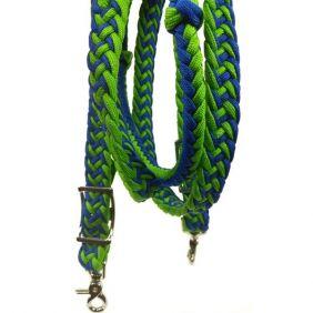 Rédea para Cavalo Partrade Trançada com Mosquetão Azul Verde