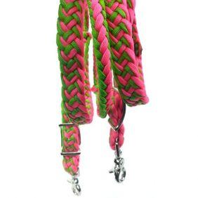 Rédea para Cavalo Partrade Trançada com Mosquetão Rosa Verde