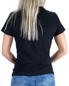 T Shirt Feminina Tassa Clássica Preta com Desenho em Strass