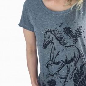 T Shirt Feminina Zenz Western Brave com Cavalo de Strass