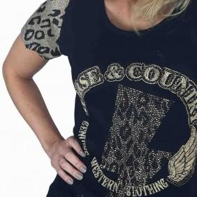 T Shirt Feminina Zenz Western Kenny Estampa com Brilhos