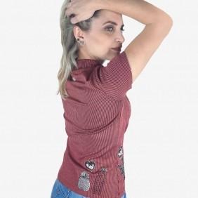 T Shirt Feminina Zenz Western Kind com Strass e Alto Relevo