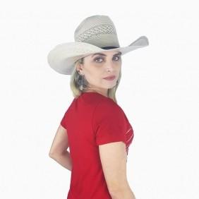 T Shirt Feminina Zenz Western Red Velvet com Strass