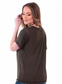 T Shirt Zenz Western Old Verde com Aplicação de Correntinhas