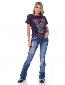 T Shirt Zenz Western Reward com Estampa Emborrachada e Strass